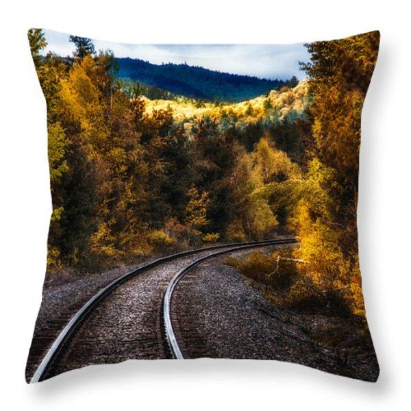 Tracks Through The Mountains  Throw Pillow by Bob Orsillo
