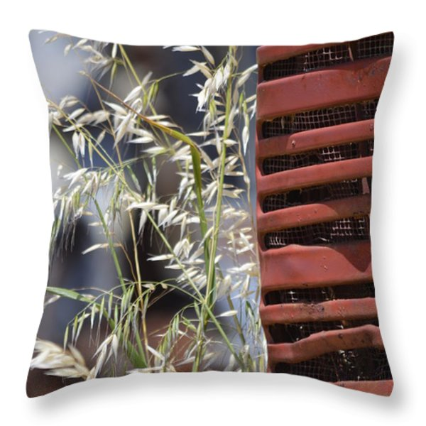 Tractor Grille And Grasses Throw Pillow by Jillian Ryder