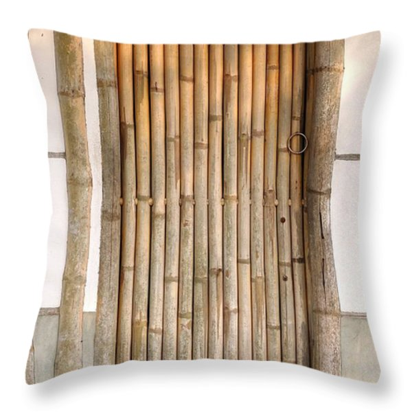 Traditional Chinese House with Bamboo Door Throw Pillow by Yali Shi