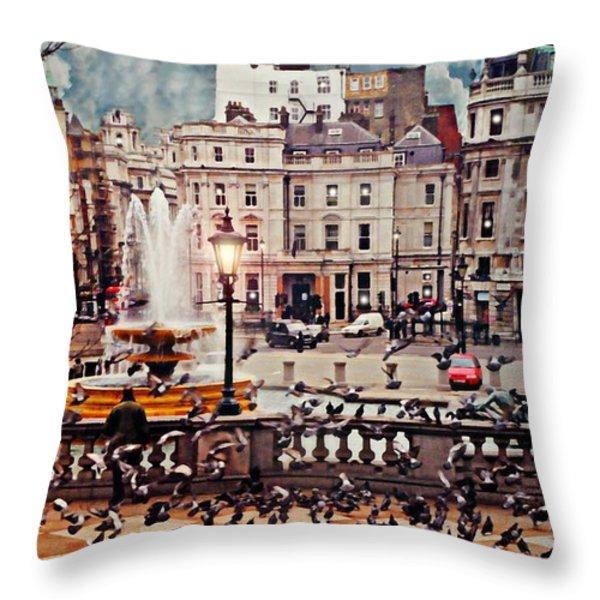 Trafalgar Square London Throw Pillow by Diana Angstadt
