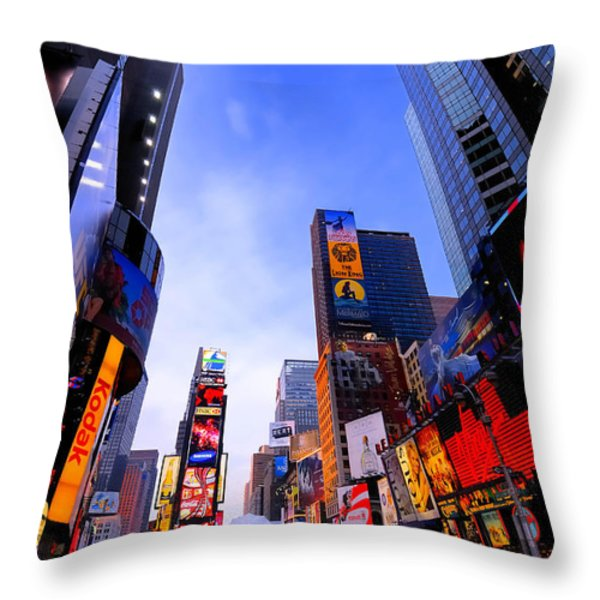 Traffic Cop in Times Square New York City Throw Pillow by Amy Cicconi