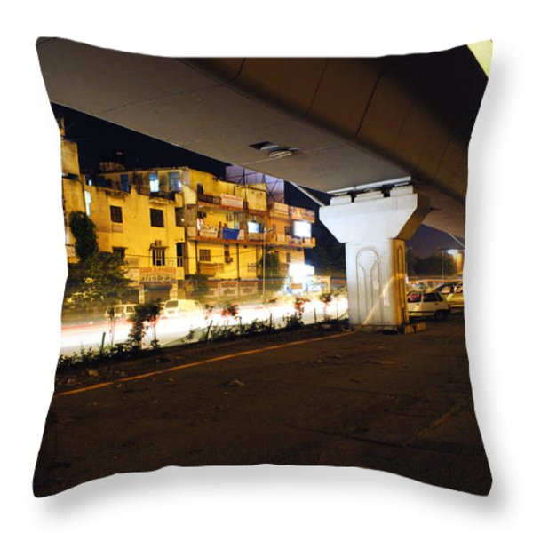 Traffic Running Beneath Flyover Throw Pillow by Sumit Mehndiratta