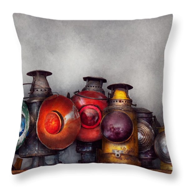 Train - A collection of Rail Road lanterns  Throw Pillow by Mike Savad