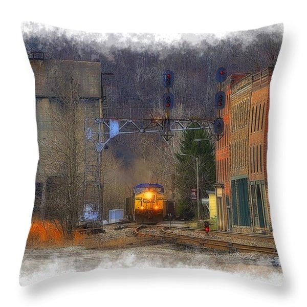 Train At Thurmond Wv Throw Pillow by Dan Friend