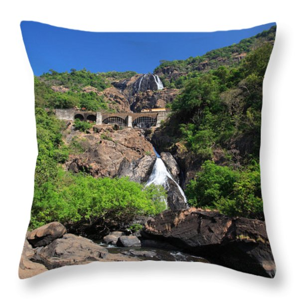 Train Crossing Dudhsagar Falls Throw Pillow by Deborah Benbrook