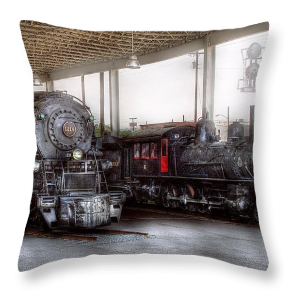 Train - Engine - 1218 - End Of The Line  Throw Pillow by Mike Savad