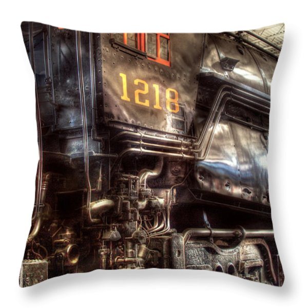 Train - Engine - 1218 - Norfolk Western - Class A - 1218 Throw Pillow by Mike Savad