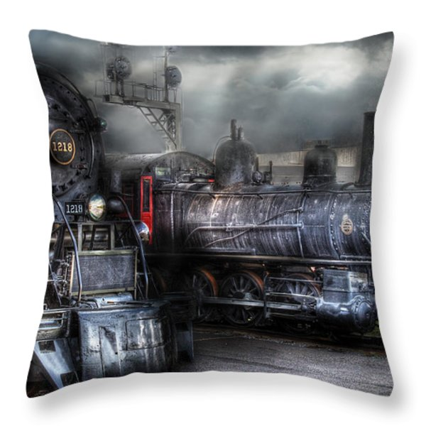 Train - Engine - 1218 - Waiting for Departure Throw Pillow by Mike Savad