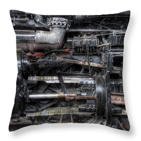 Train - Engine - 611 - Norfolk And Western - Built 1950 Throw Pillow by Mike Savad