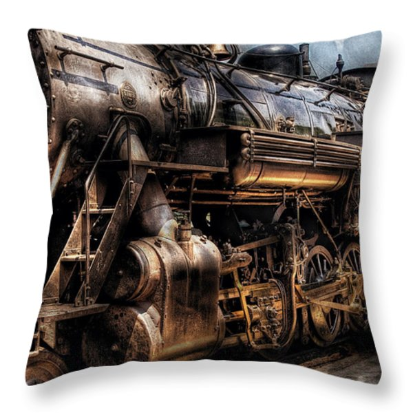 Train - Engine -  Now boarding Throw Pillow by Mike Savad