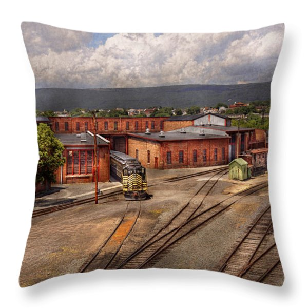 Train - Entering the train yard Throw Pillow by Mike Savad
