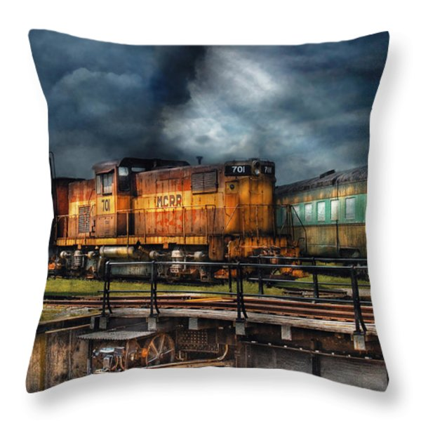 Train - Let's go for a spin Throw Pillow by Mike Savad