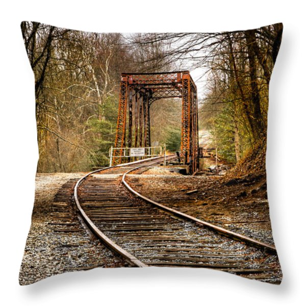 Train Memories Throw Pillow by Debra and Dave Vanderlaan
