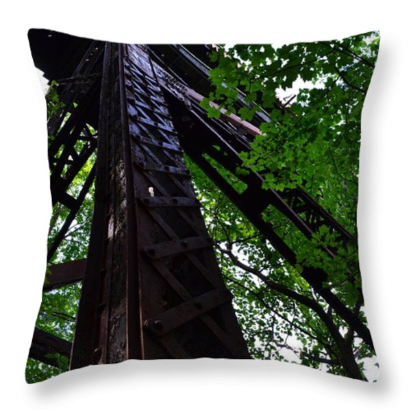Train Trestle In The Woods Throw Pillow by Michelle Calkins