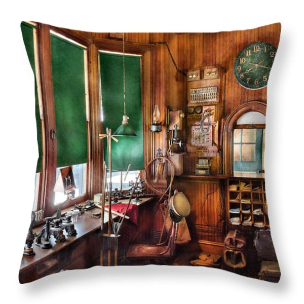 Train - Yard - The stationmasters office  Throw Pillow by Mike Savad