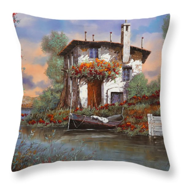 tramonto con bougainvillea Throw Pillow by Guido Borelli