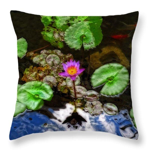 Tranquility - Lotus Flower Koi Pond By Sharon Cummings Throw Pillow by Sharon Cummings