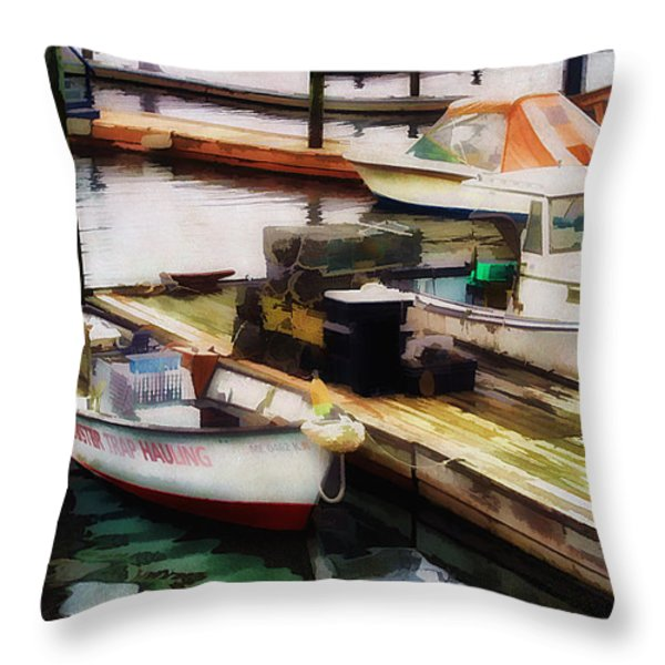 Trap Hauling Throw Pillow by Darren Fisher