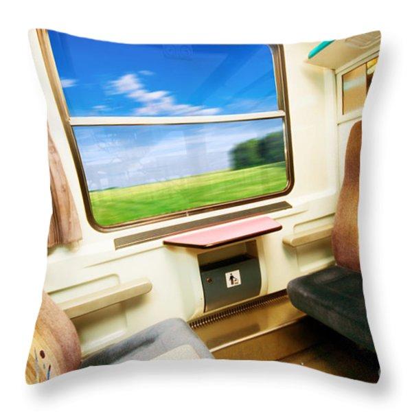 Travel In Comfortable Train. Throw Pillow by Michal Bednarek