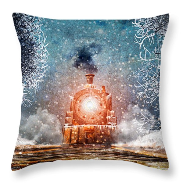 Traveling On Winters Night Throw Pillow by Bob Orsillo