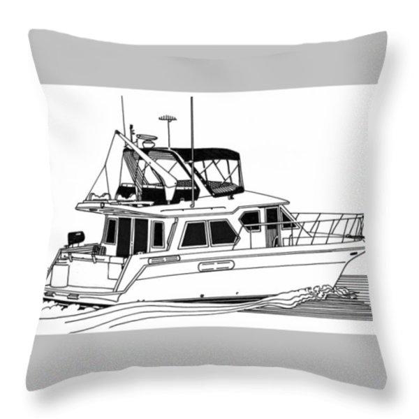Trawler Yacht Throw Pillow by Jack Pumphrey