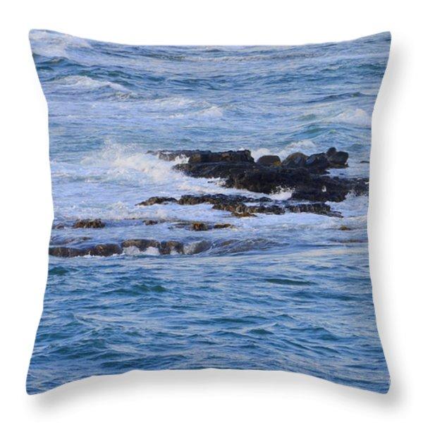 Treacherous Shorebreak Throw Pillow by Mary Deal