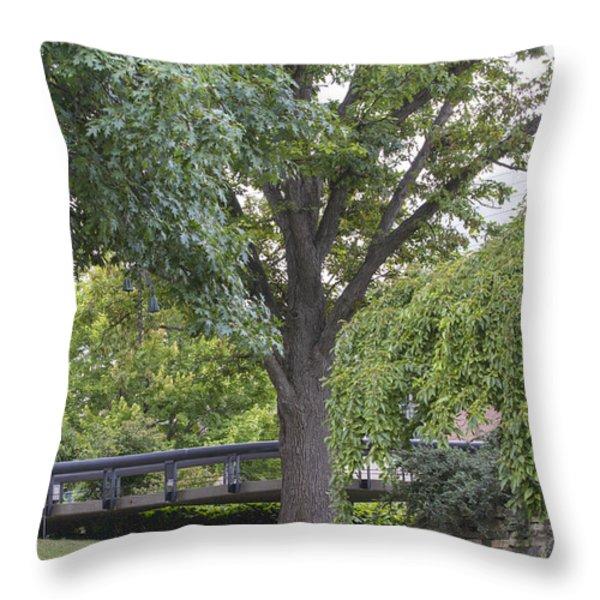 Tree and bridge at Wharton Center Throw Pillow by John McGraw
