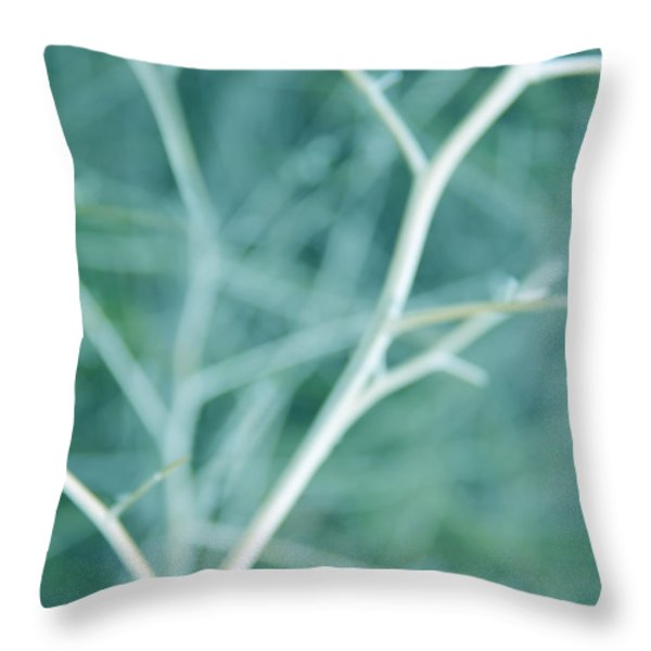 Tree Branches Abstract Turquoise Throw Pillow by Jennie Marie Schell