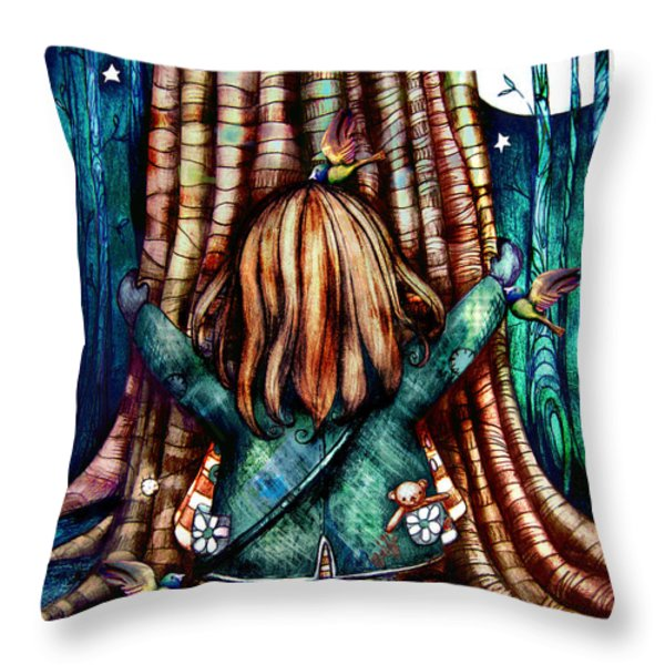 Tree Hugs Throw Pillow by Karin Taylor