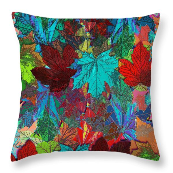 Tree Leaves Throw Pillow by Klara Acel