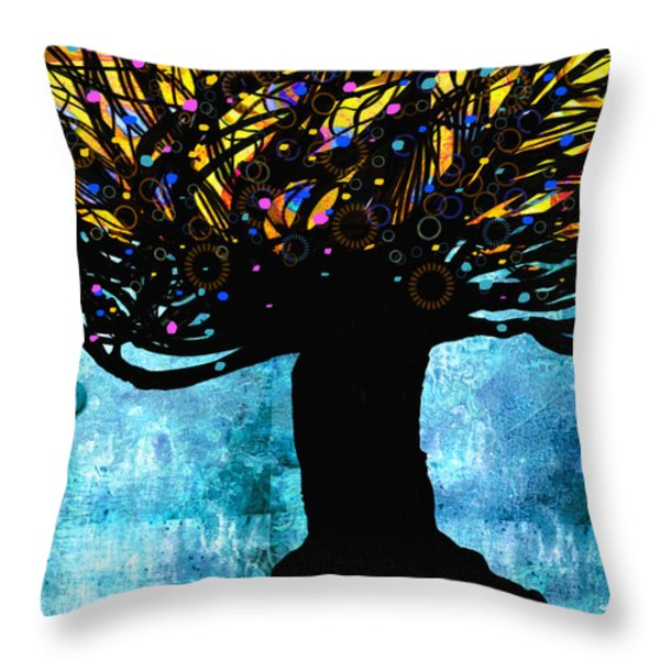 Tree Of Life Blue And Yellow Throw Pillow by Ann Powell