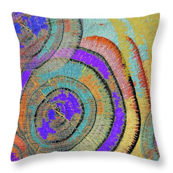 Tree Ring Abstract 3 Throw Pillow by Tony Rubino