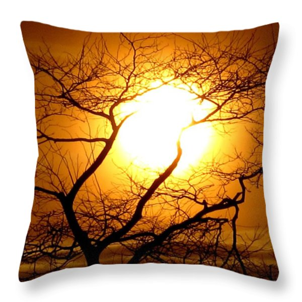 Tree Set Throw Pillow by Donnie Freeman