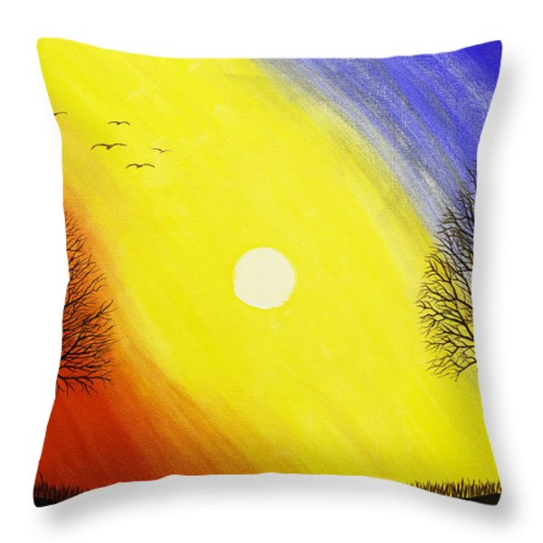Tree Silhouette At Sunset Painting Throw Pillow by Keith Webber Jr