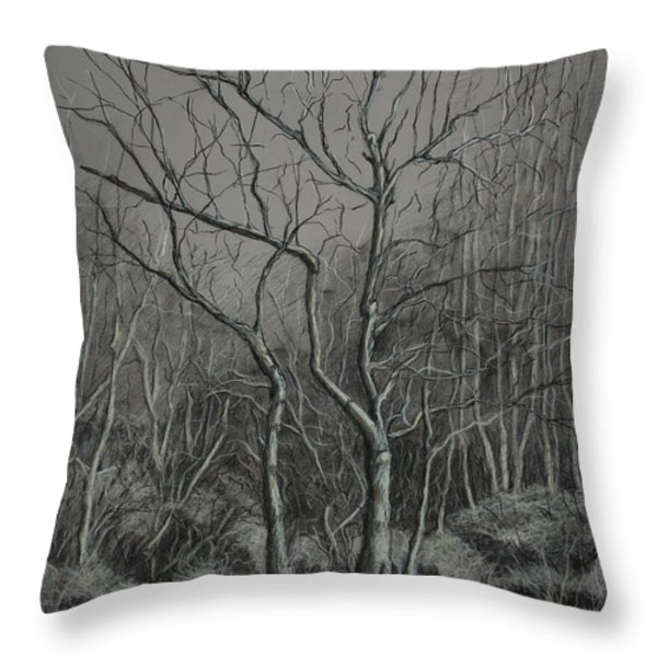 Trees Along the Greenway Throw Pillow by Janet Felts
