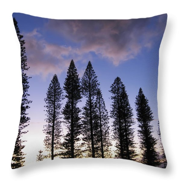 Trees In Silhouette Throw Pillow by Adam Romanowicz