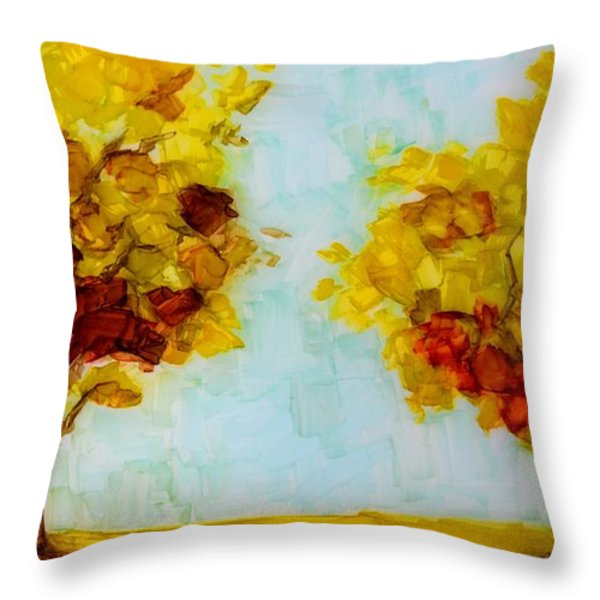 Trees In The Fall Throw Pillow by Patricia Awapara