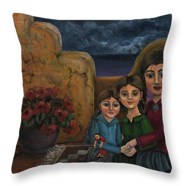 Tres Mujeres Three Women Throw Pillow by Victoria De Almeida