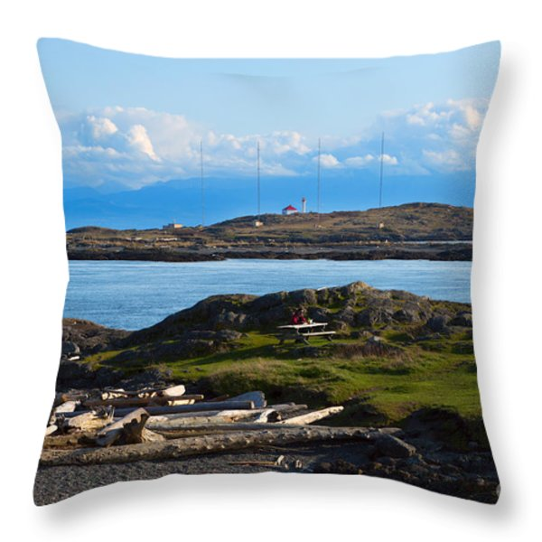 Trial Island And The Strait Of Juan De Fuca Throw Pillow by Louise Heusinkveld