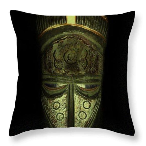 Tribal Mask  Throw Pillow by David Dehner