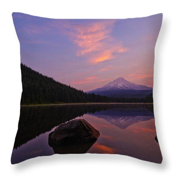 Trillium Lake Sunrise Throw Pillow by Dan Mihai