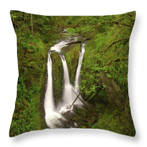 Triple Falls  Throw Pillow by Jeff Swan