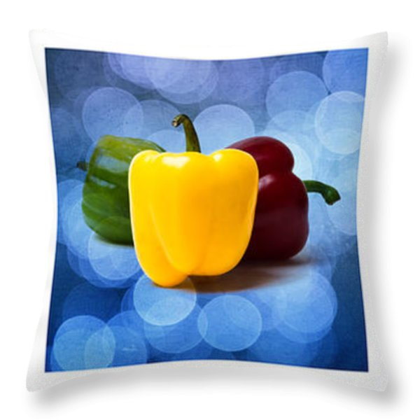 Triptych - Pepper Traffic Lights 2 Throw Pillow by Alexander Senin