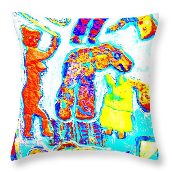 trolls family Throw Pillow by Else Margrethe Widerberg