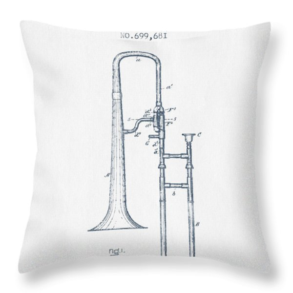 Trombone Patent From 1902 - Blue Ink Throw Pillow by Aged Pixel