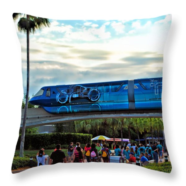 Tron Monorail At Walt Disney World Throw Pillow by Thomas Woolworth