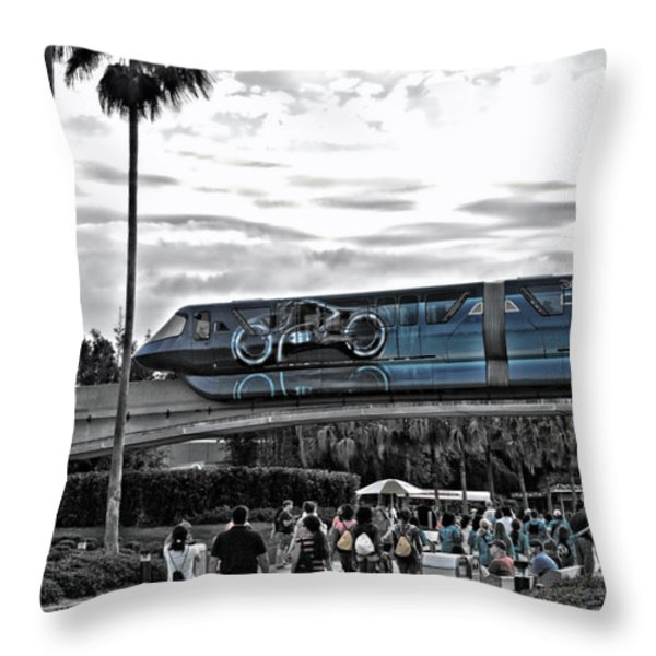 Tron Monorail WDW in SC Throw Pillow by Thomas Woolworth