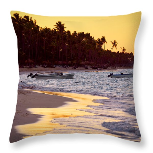 Tropical beach at sunset Throw Pillow by Elena Elisseeva