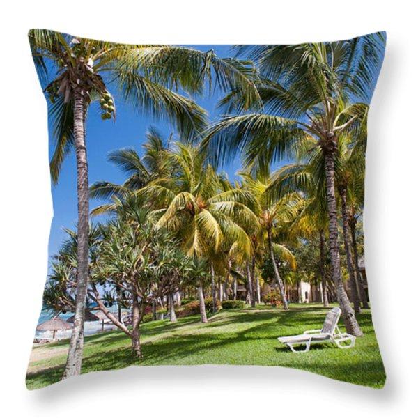 Tropical Beach I. Mauritius Throw Pillow by Jenny Rainbow