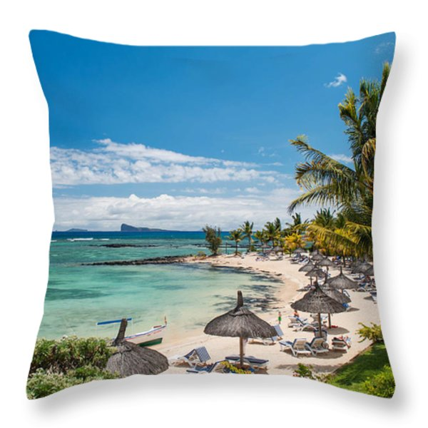 Tropical Beach II. Mauritius Throw Pillow by Jenny Rainbow